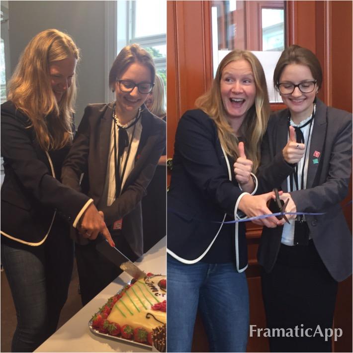 Fra åpningen av nye lokaler for Studenttingets arbeidsutvalg. Snorklipping og kakefeiring med leder Mariya Khanamiryan